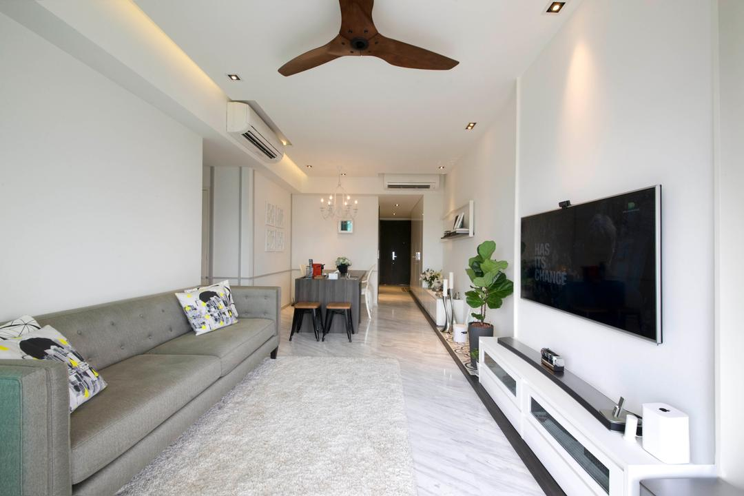 Vision, Habit, Contemporary, Living Room, Condo, Sofa, Pillow, White, Clean, Tv Console, Tv, Television, Dining Table, Dining Chairs, Ceiling Fan, Wood Fan, Tiles, Grey Sofa, Aircon, Down Light, Down Lights, Couch, Furniture, Table