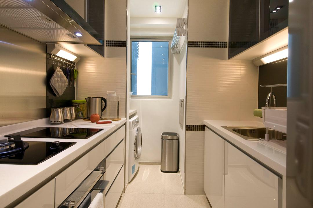 Vision, Habit, Contemporary, Kitchen, Condo, Washing Machine, Kitchen Floor, Kitchen Flooring, Oven, Microwave, White, Lights, Aluminium, Laminate, Kitchen Cupboard, Sink Tap, Tiles, Stove, Appliance, Electrical Device, Bathroom, Indoors, Interior Design, Room