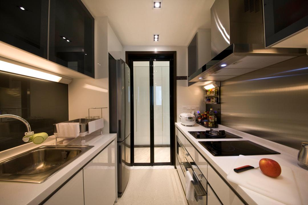 Vision, Habit, Contemporary, Kitchen, Condo, Kitchen Door, Glass Door, Foldable Door, Aluminum Backing, Sink, Tap, Laminate, Kitchen Floor, Kitchen Flooring, Indoors, Interior Design, Corridor, Lighting, HDB, Building, Housing, Loft