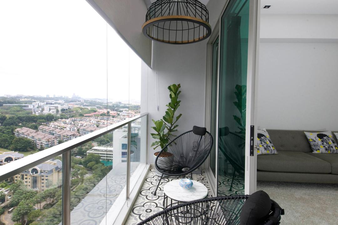 Vision, Habit, Contemporary, Balcony, Condo, Balcony Furniture, Balcony Chairs, Balcony Table, Plants, Balcony Light, Hanging Light, Tiles, Art Tiles, Vintage Tiles, Retro Tiles, Balcony Door, Sliding Door, Balcony Blinds, Blinds, Flora, Jar, Plant, Potted Plant, Pottery, Vase, Chair, Furniture