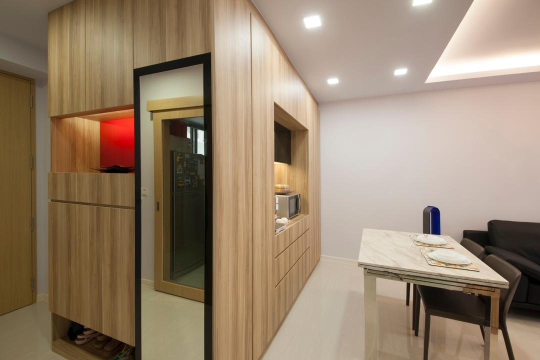 Boathouse  Residences, DB Studio, Traditional, Living Room, Condo, Dining Table, Dining Chairs, Tiles, Floor Tiles, Down Light, Recessed Light, Laminate, Oa, Supboard, Cabinet, Mirror, Furniture, Table, Corridor