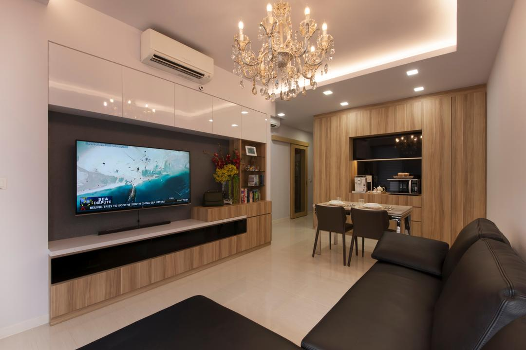 Boathouse  Residences, DB Studio, Traditional, Living Room, Condo, Television, Tv, Tv Console, Mounting, Sofa, Tiles, Dining Area, Dining, Downlight, Recessed Light, Couch, Furniture, Dining Table, Table, Dining Room, Indoors, Interior Design, Room, Electronics, Entertainment Center, Home Theater