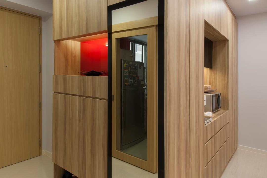 Boathouse  Residences, DB Studio, Traditional, Living Room, Condo, Entrance, Cabinet, Cupboard, Laminate, Oak, Shoe Rack, Floor Tiles, Tiles