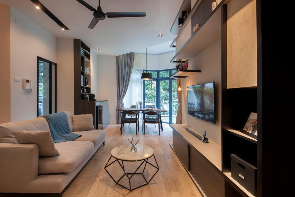 Contemporary, Condo, Living Room, Evelyn Road, Interior Designer, Habit, Couch, Furniture, Dining Room, Indoors, Interior Design, Room, HDB, Building, Housing