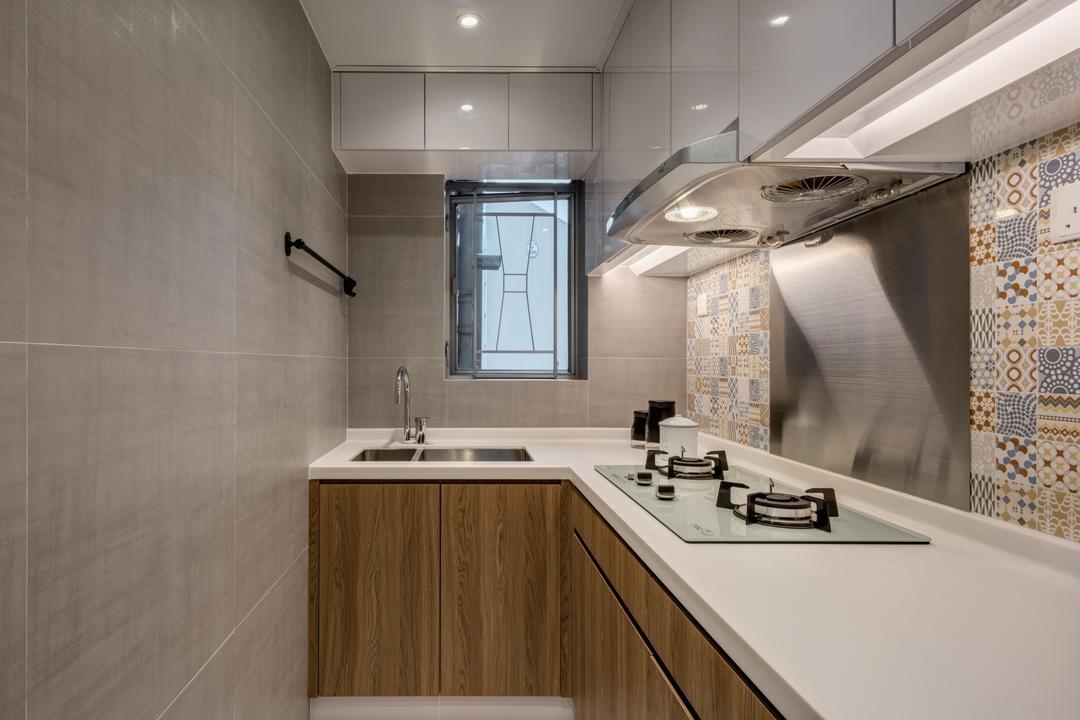 樂軒臺, Pixel Interior Design, 北歐, 廚房, 私家樓, Tiles, Graphic Tiles, L Shaped Kitchen, Small Kitchen, Solid Surface, Window, 浴室, Indoors, Interior Design, Room, Sink
