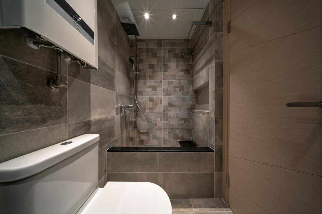 樂軒臺, Pixel Interior Design, 北歐, 浴室, 私家樓, Bathtub, Graphic Tiles, Indoors, Interior Design, Room