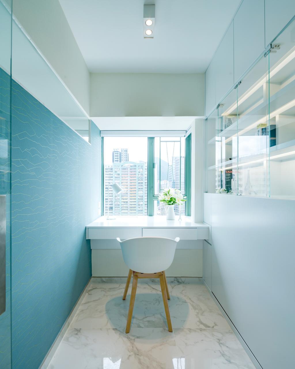 摩登, 私家樓, 書房, 藍灣半島, 室內設計師, Pixel Interior Design, Workspace, 浴室, Indoors, Interior Design, Room, Light Fixture