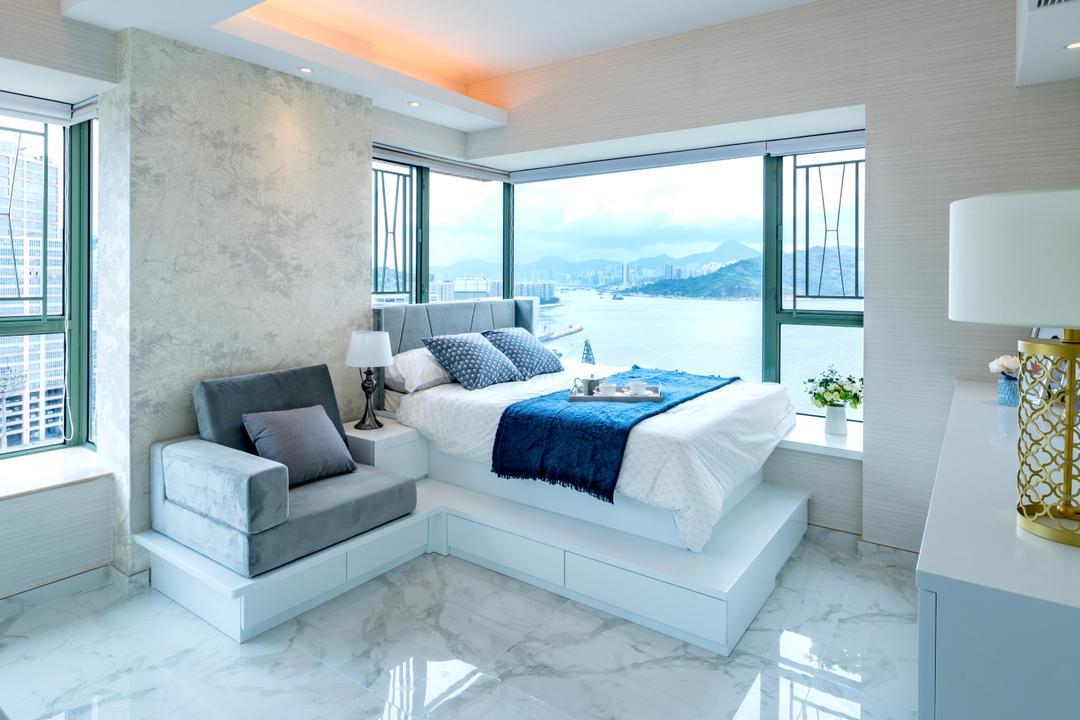 藍灣半島, Pixel Interior Design, 摩登, 睡房, 私家樓, Platform Bed, Storage Bed, All White, Modern Luxury, Airy, Indoors, Interior Design