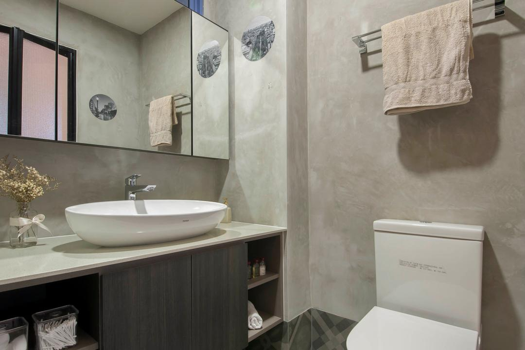 Evelyn Road, Habit, Contemporary, Condo, Flooring, Tiles, Sink, Shelve, Mirror, Cabinet, Storage, Toilet Cabinet, Towel Rack, Toilet Bowl, Overlay, Flora, Jar, Plant, Potted Plant, Pottery, Vase, Paper, Bathroom, Indoors, Interior Design, Room