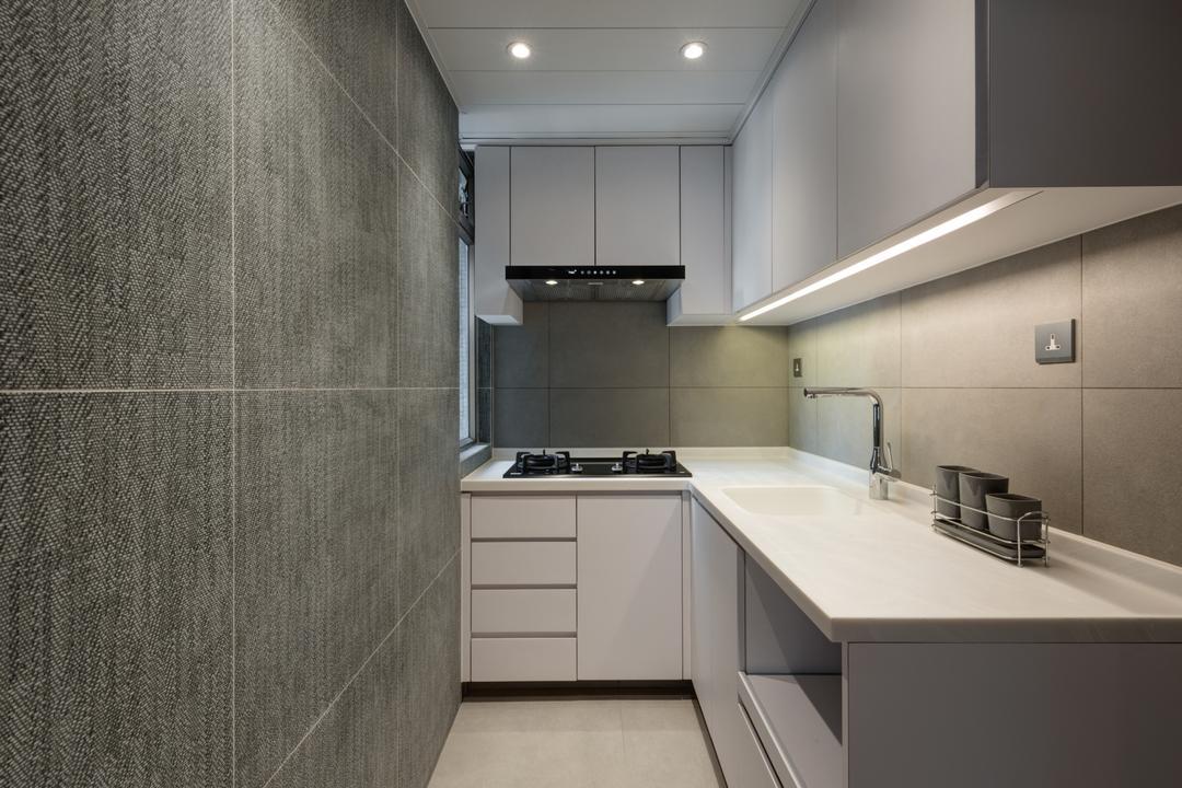 新翠花園, Pixel Interior Design, 摩登, 北歐, 廚房, 私家樓, Small Kitchen, Monochrome, L Shaped, Tiles, Grey, Sink, 浴室, Indoors, Interior Design, Room