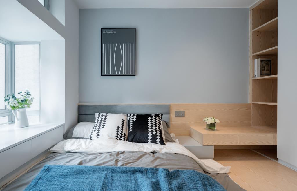 摩登, 私家樓, 睡房, 新翠花園, 室內設計師, Pixel Interior Design, 北歐, Indoors, Interior Design, Room, Bed, Furniture
