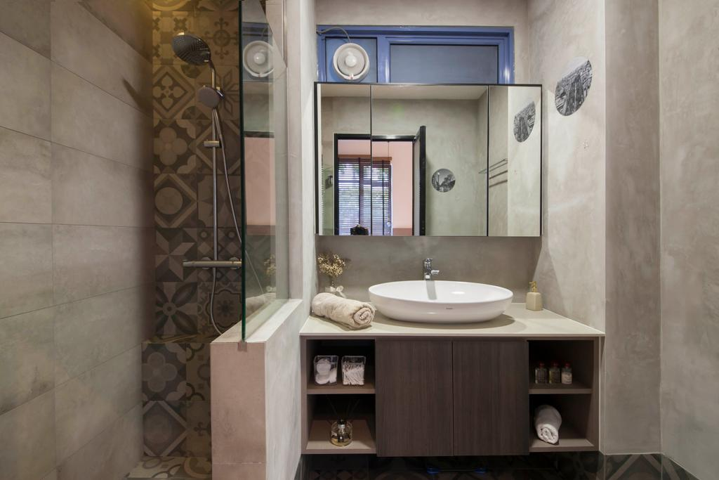 Contemporary, Condo, Evelyn Road, Interior Designer, Habit, Toliet, Tiles, Overlay, Hook, Sink, Toilet Cauboard, Shelve, Mirror, Storage, Window