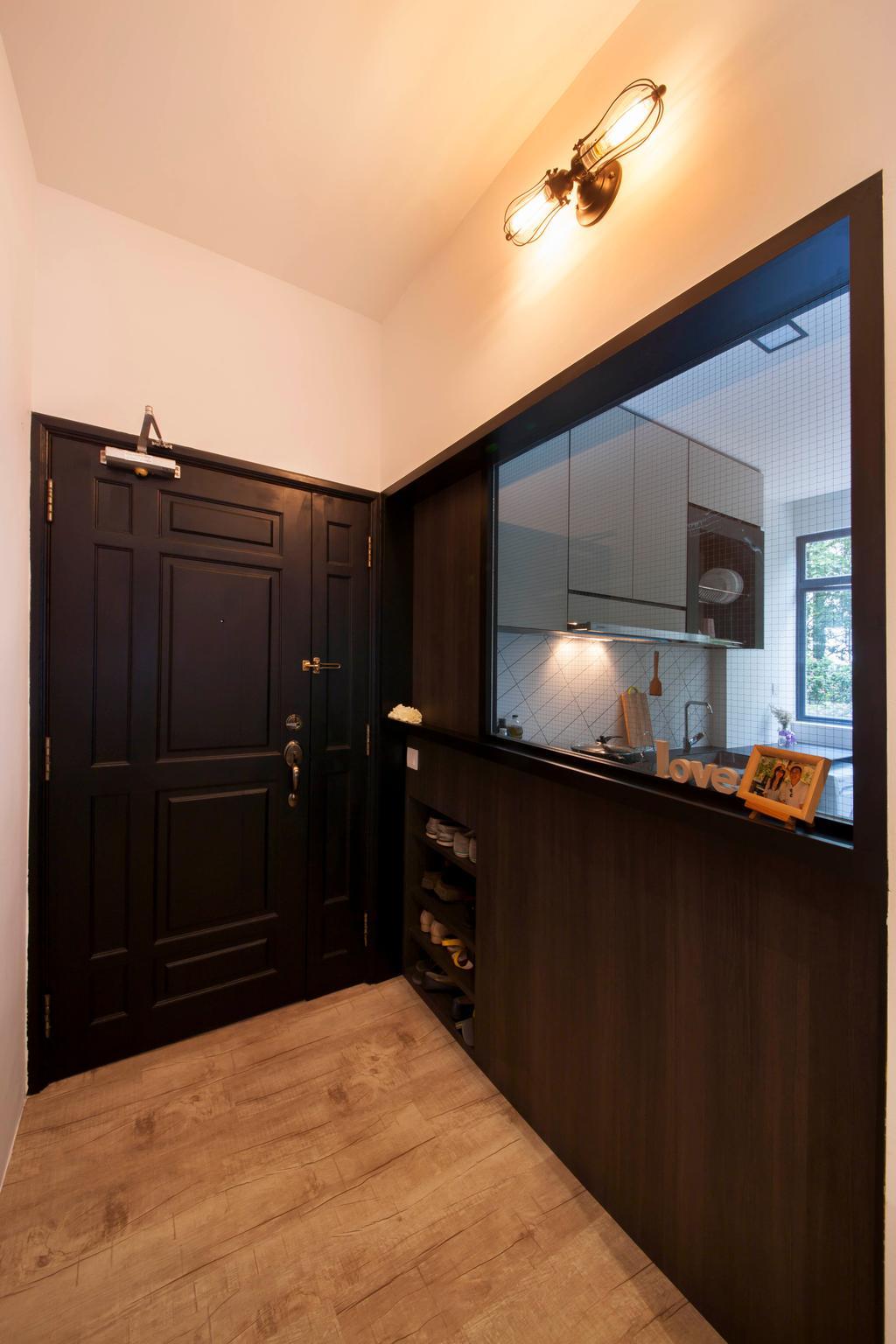 Contemporary, Condo, Evelyn Road, Interior Designer, Habit, Door, Entrance, Kitchen, Wood, Shoes Rack, Flooring, Wood Door, British Style, Mesh, Hack, Modern, British, HDB, Building, Housing, Indoors