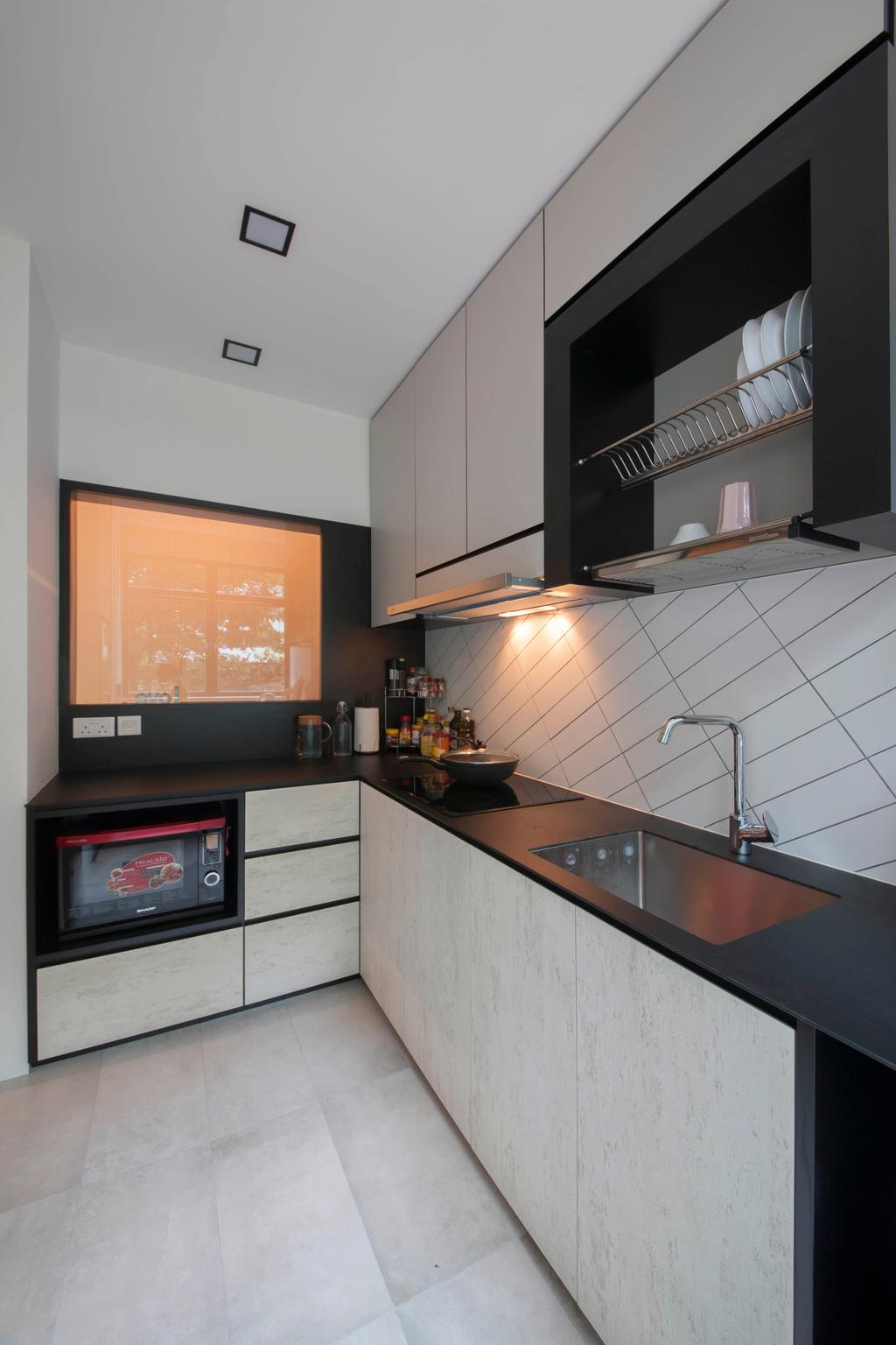Contemporary, Condo, Kitchen, Evelyn Road, Interior Designer, Habit, Tiles, Oven, Sink, Tap, Kitchen Top, Kitchen Table Top, Table Top, White, Monochrome, Hood, Stove, Mesh, Hack, HDB, Building, Housing, Indoors, Loft