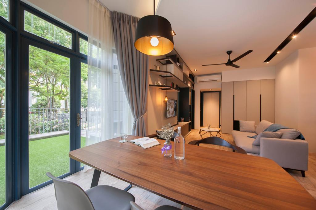 Contemporary, Condo, Dining Room, Evelyn Road, Interior Designer, Habit, Dining Table, Dining Chairs, Sofa, Track Lights, Dining Light, Glass Door, Garden, Patio, Curtain, Ceiling Fan, Storage, Cupboard, Couch, Furniture, Table, Indoors, Interior Design, Room
