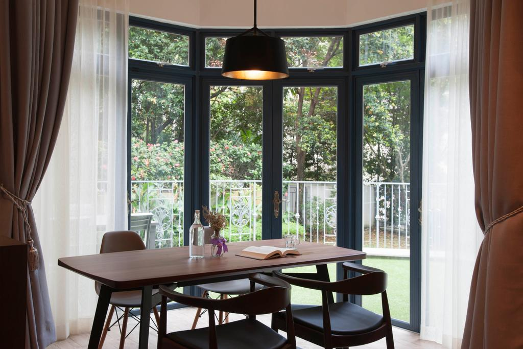 Contemporary, Condo, Dining Room, Evelyn Road, Interior Designer, Habit, Dining Table, Dining Chairs, Dining Light, Curtain, Glass Door, Glass, Patio, Furniture, Table, Indoors, Interior Design, Room, Chair