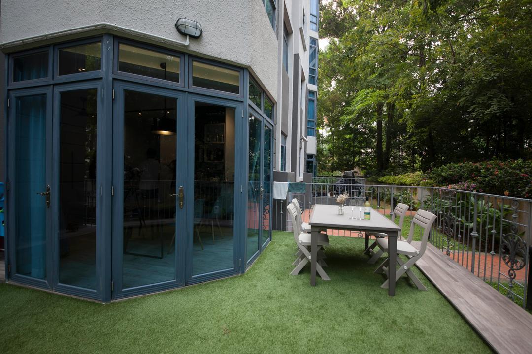 Evelyn Road, Habit, Contemporary, Garden, Condo, Patio, Garden Table, Wood, Garden Chairs, Glass Doors, Fence