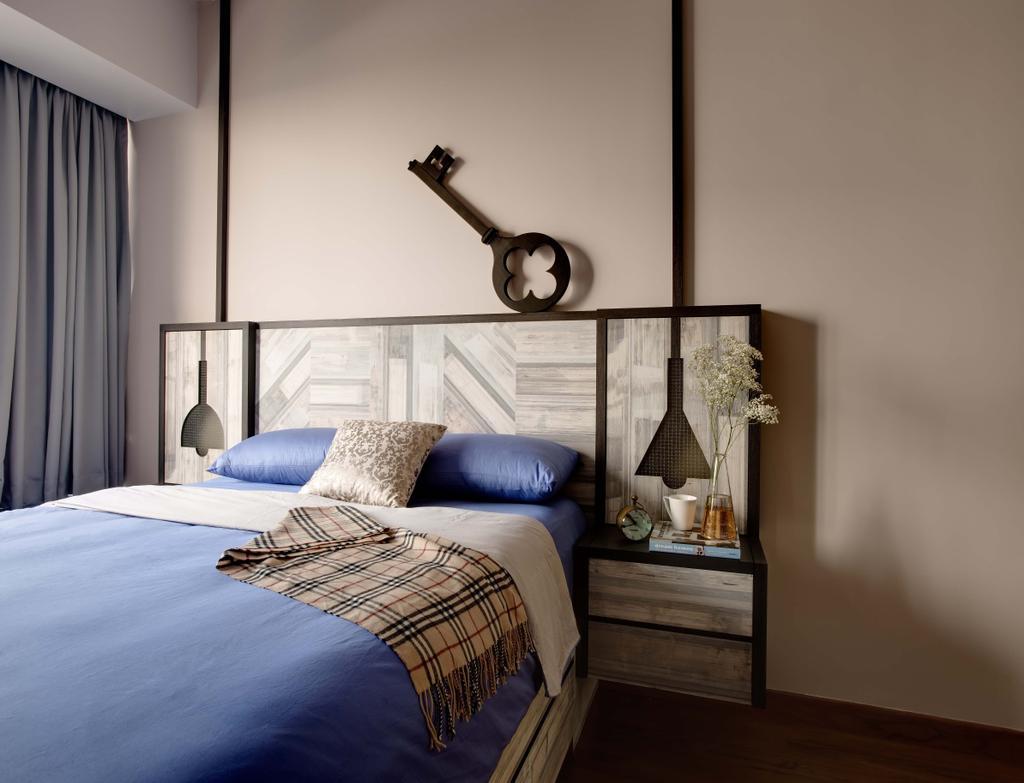 Industrial, Condo, Bedroom, The Horizon, Interior Designer, Dan's Workshop, Bed, Wood Backing, Curtain, Furniture, Indoors, Interior Design, Room