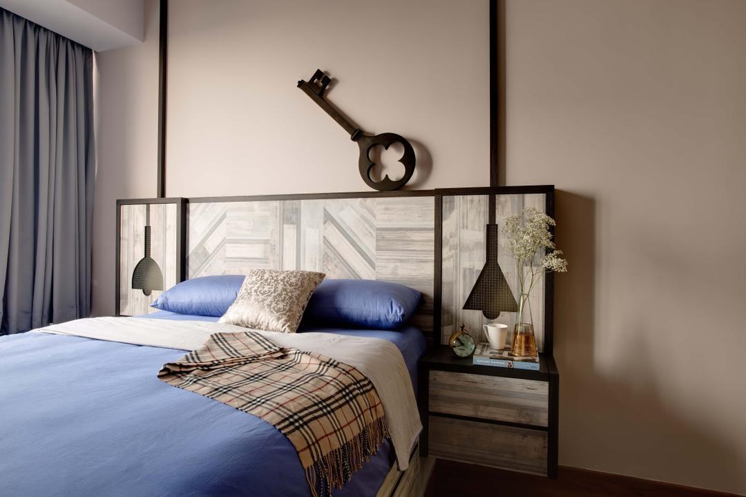 The Horizon, Dan's Workshop, Industrial, Bedroom, Condo, Bed, Wood Backing, Curtain, Furniture, Indoors, Interior Design, Room