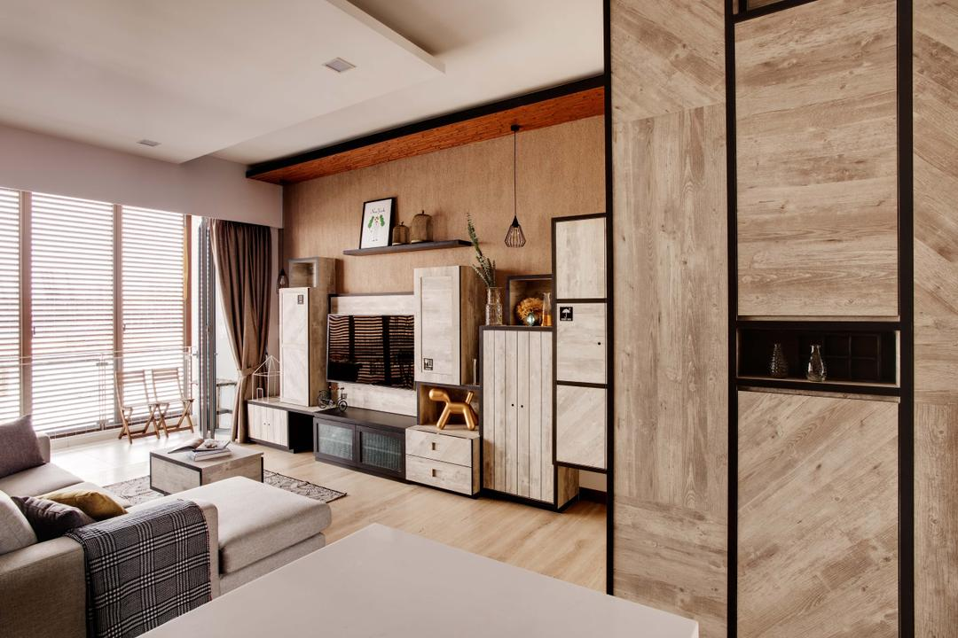 The Horizon, Dan's Workshop, Industrial, Living Room, Condo, Laminate, Brown, Tv Console, Wwood Accents, Light Brown, Sofa, Coffee Table, Curtain, Crates, Cabinets, Storage, Indoors, Interior Design, Couch, Furniture