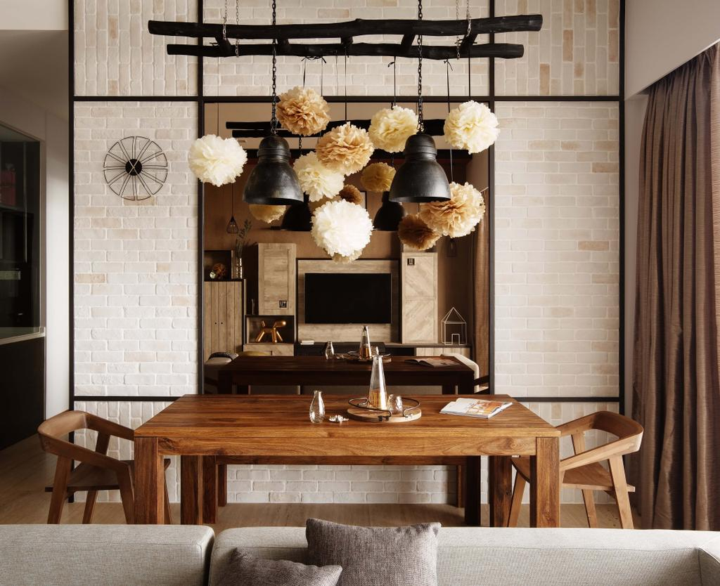 Industrial, Condo, Dining Room, The Horizon, Interior Designer, Dan's Workshop, Chair, Furniture, Dining Table, Table, Electronics, Entertainment Center, Home Theater, Indoors, Interior Design, Room, Lamp, Lampshade