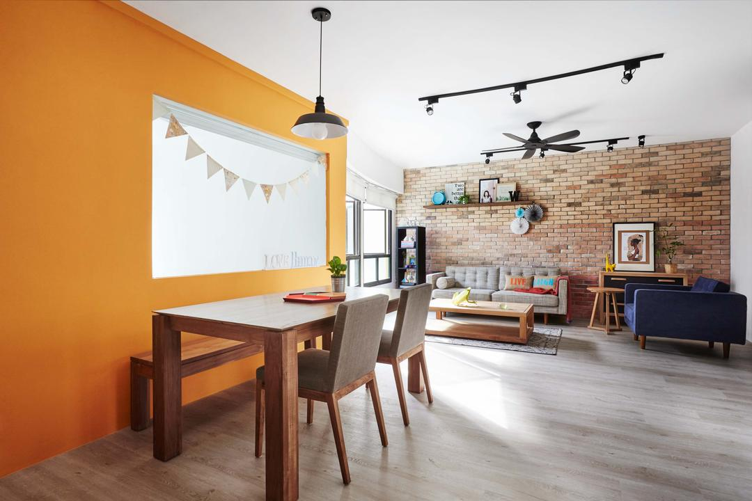 Kim Tian Place, Dan's Workshop, Scandinavian, Dining Room, HDB, Track Lightss, Ceiling Fan, Brown Brick Wall, Orange Wall, Dining Table, Dining Chairs, Dining Bench, Wood Floor, Furniture, Table, Couch, Indoors, Interior Design, Room, Flooring, Chair