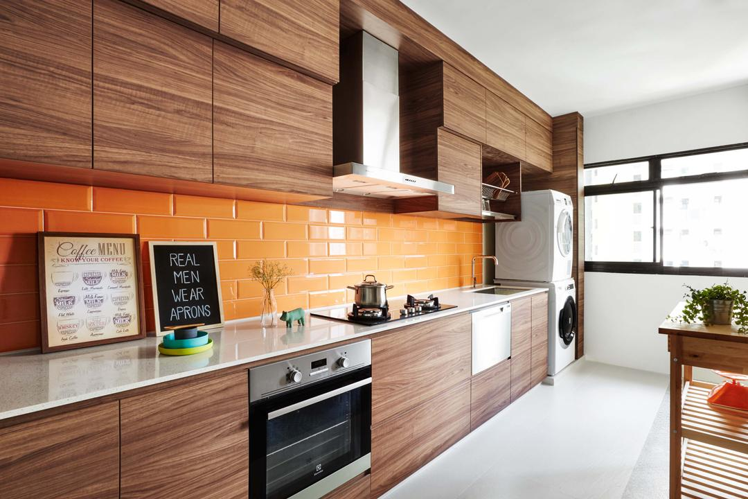 Kim Tian Place, Dan's Workshop, Scandinavian, Kitchen, HDB, Brown, Stove, Hood, Tiles Backing, Oven, Tiles, Washing Machine, Dryer, Cabinets, Drawers, Indoors, Interior Design, Room, Appliance, Electrical Device, Hardwood, Stained Wood, Wood, Flooring