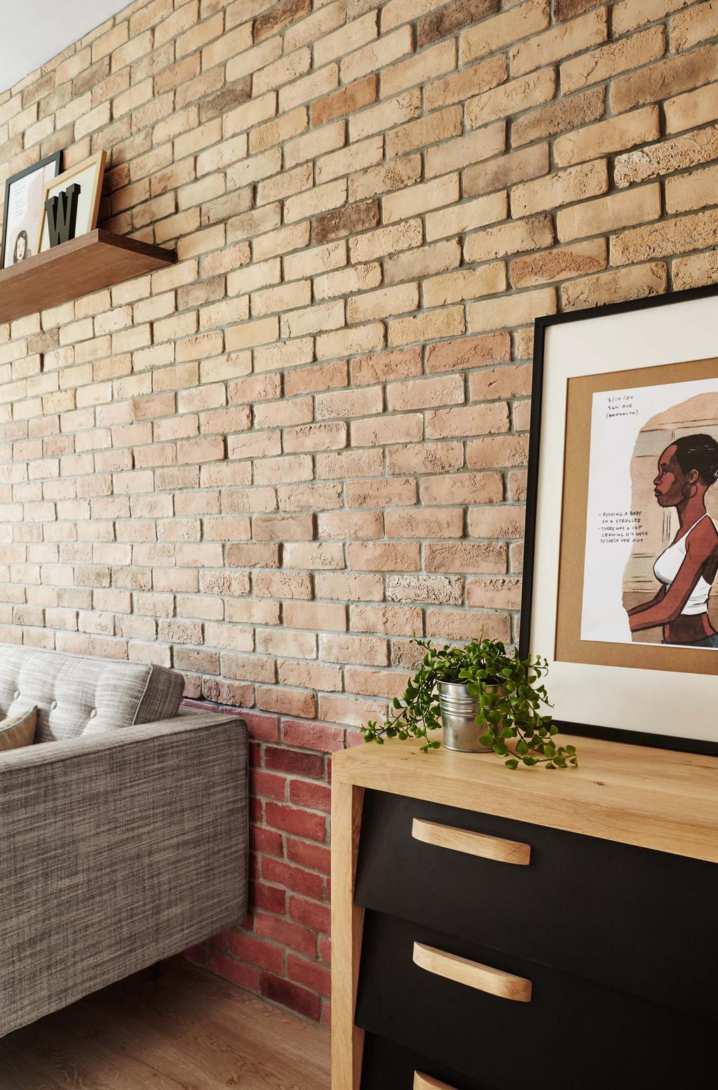 Scandinavian, HDB, Living Room, Kim Tian Place, Interior Designer, Dan's Workshop, Brown Brick Wall, Sofa, Drawers, Flora, Jar, Plant, Potted Plant, Pottery, Vase, Human, People, Person, Poster