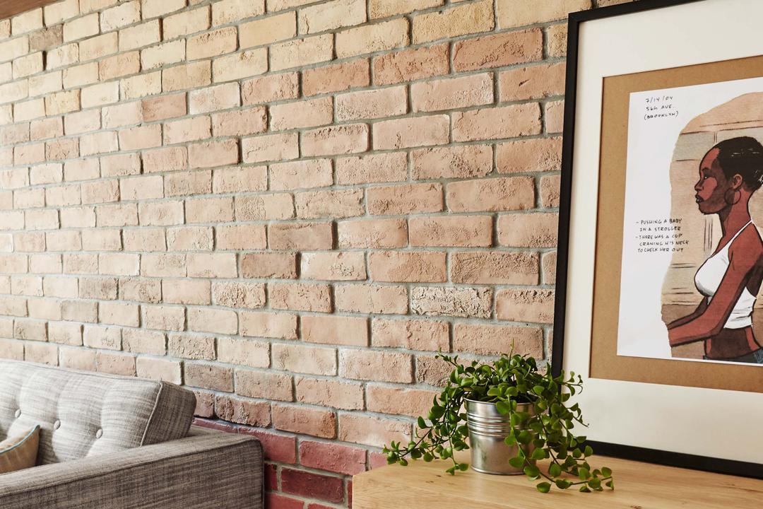 Kim Tian Place, Dan's Workshop, Scandinavian, Living Room, HDB, Brown Brick Wall, Sofa, Drawers, Flora, Jar, Plant, Potted Plant, Pottery, Vase, Human, People, Person, Poster