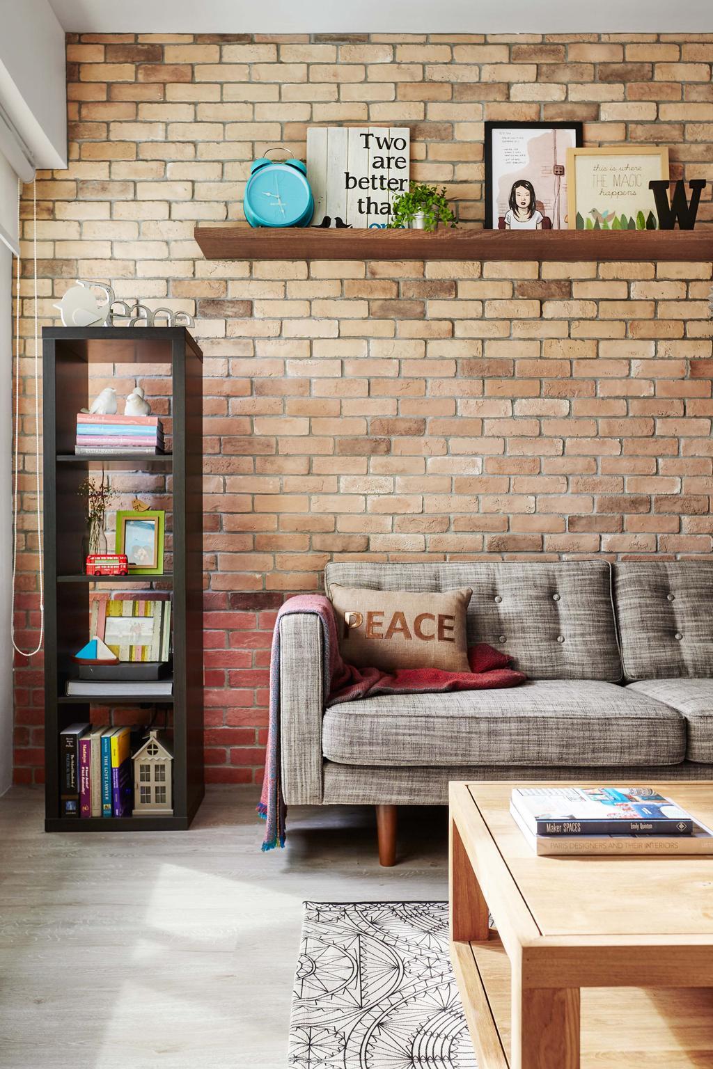 Scandinavian, HDB, Living Room, Kim Tian Place, Interior Designer, Dan's Workshop, Brown Brick Wall, Sofa, Cabinet, Wood Floor, Coffee Table, Carpet, Brick, Armchair, Furniture, Chair