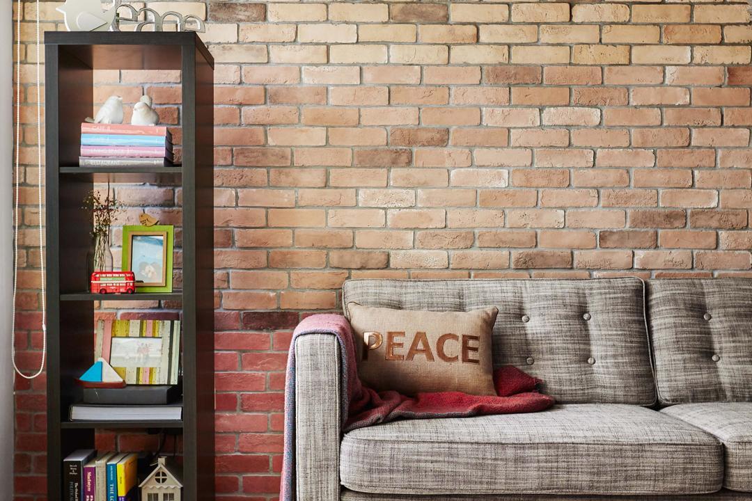Kim Tian Place, Dan's Workshop, Scandinavian, Living Room, HDB, Brown Brick Wall, Sofa, Cabinet, Wood Floor, Coffee Table, Carpet, Brick, Armchair, Furniture, Chair