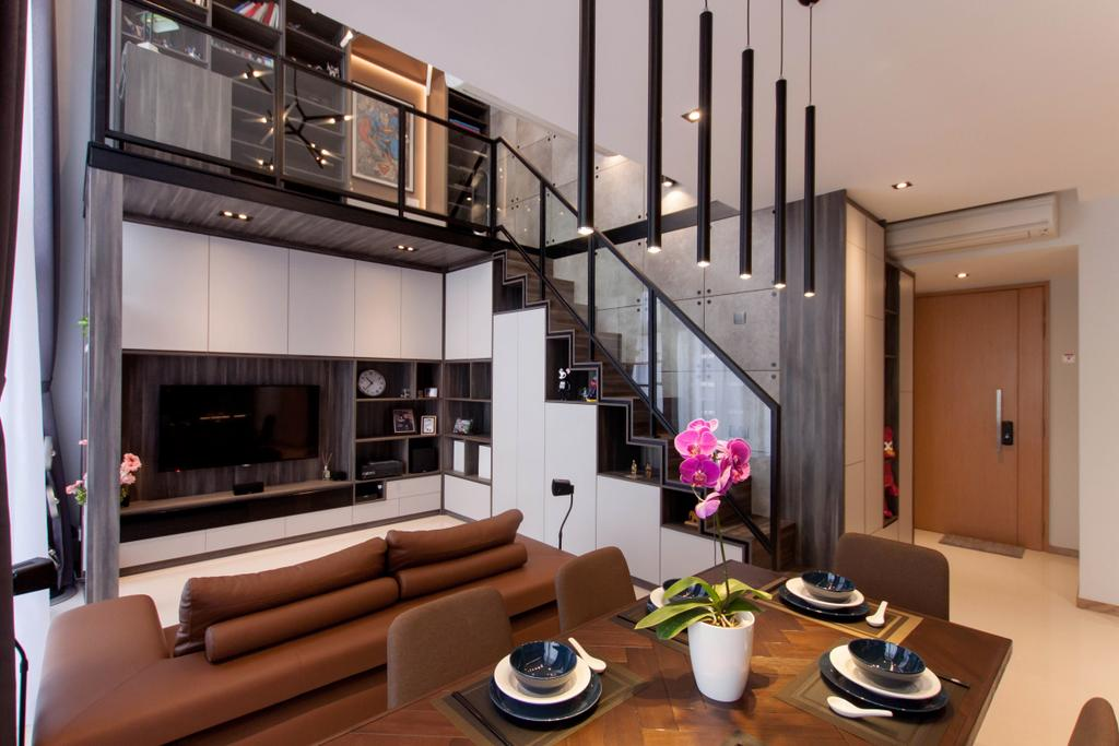 Industrial, Condo, Dining Room, The Trilinq, Interior Designer, Space Atelier, Couch, Furniture, Flora, Jar, Plant, Potted Plant, Pottery, Vase, HDB, Building, Housing, Indoors, Loft, Blossom, Flower, Orchid