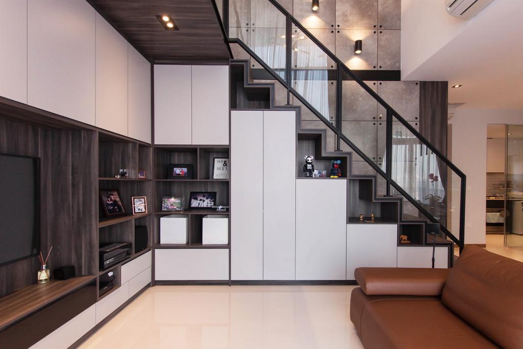 Industrial, Condo, Living Room, The Trilinq, Interior Designer, Space Atelier, Couch, Furniture, Indoors, Interior Design