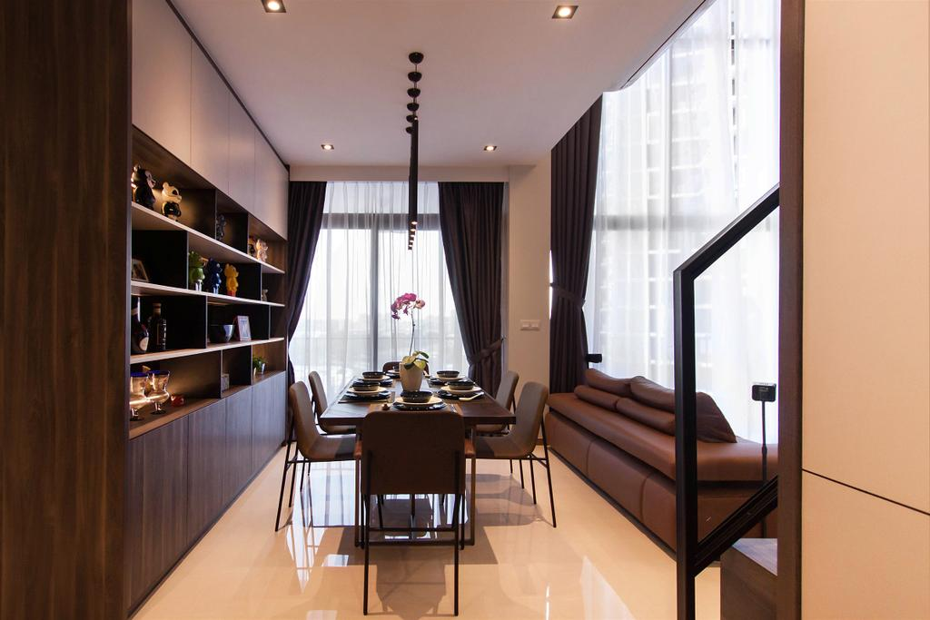 Industrial, Condo, Dining Room, The Trilinq, Interior Designer, Space Atelier, Dining Table, Furniture, Table, Indoors, Interior Design, Room, Conference Room, Meeting Room, Bookcase