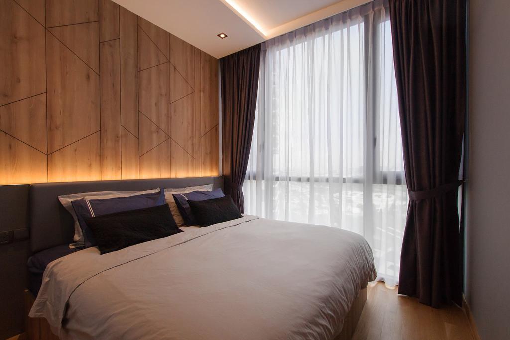 Industrial, Condo, Bedroom, The Trilinq, Interior Designer, Space Atelier, Bed, Furniture, Indoors, Interior Design, Room