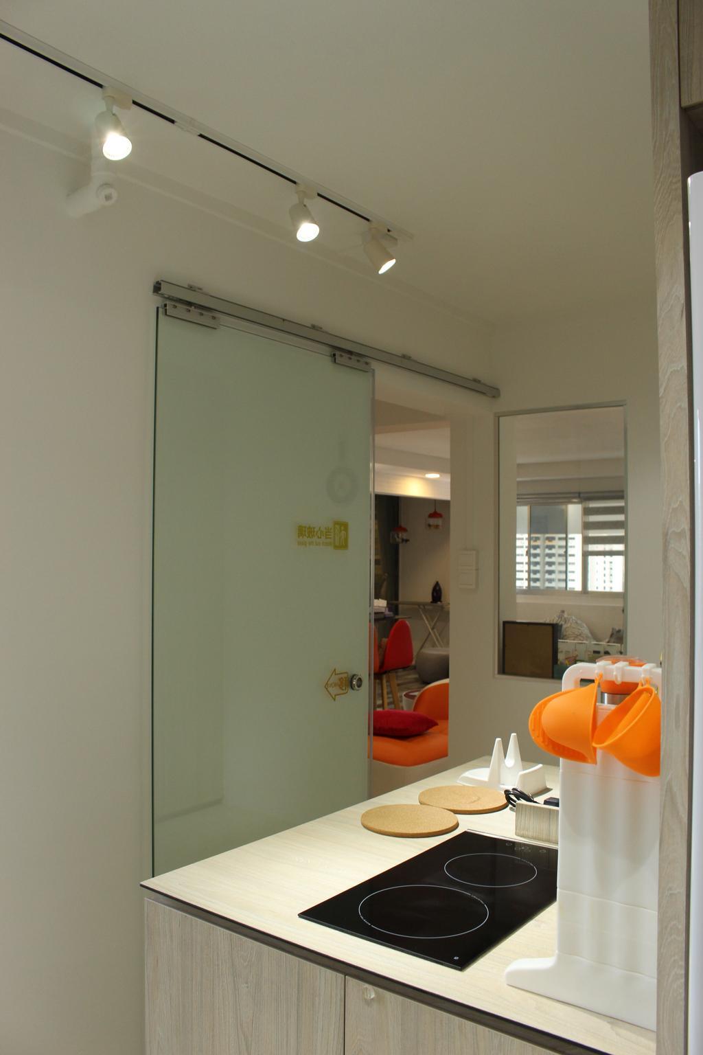Scandinavian, HDB, Kitchen, Mcnair Road (Block 111), Interior Designer, Ingenious Design Solutions, Door, Sliding Door