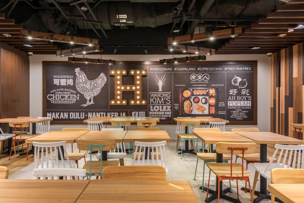 Hawkerman, Commercial, Interior Designer, Flo Design, Chair, Furniture, Dining Table, Table, Billboard, Menu, Text, Restaurant, Cafe
