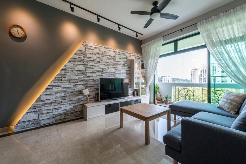 Condo, Living Room, Hillview Green, Interior Designer, D Initial Concept, Dining Table, Furniture, Table, Fireplace, Hearth, Couch