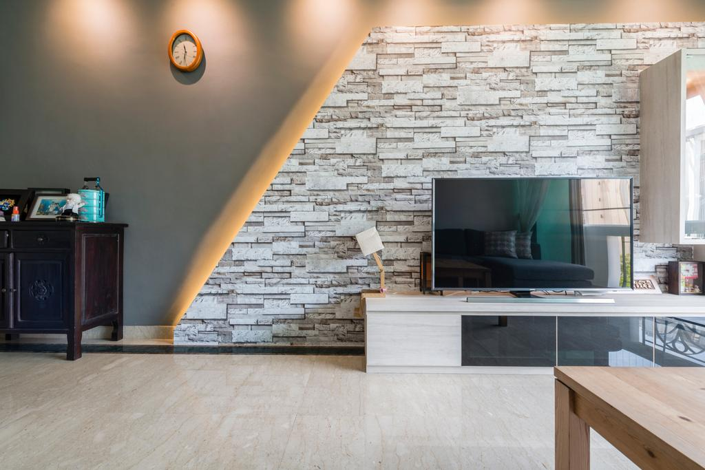 Condo, Living Room, Hillview Green, Interior Designer, D Initial Concept, Fireplace, Hearth, Dining Table, Furniture, Table, Sideboard, Indoors, Interior Design, Flooring