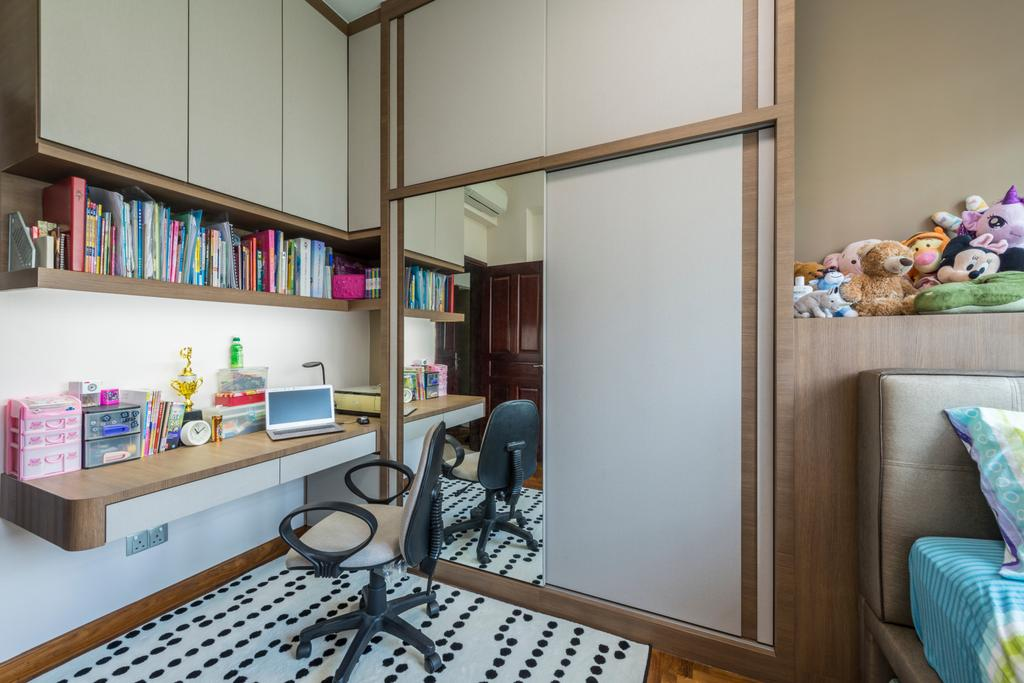 Condo, Bedroom, Hillview Green, Interior Designer, D Initial Concept, Chair, Furniture, Bookcase