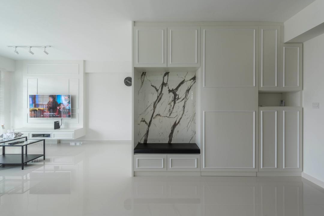 Edgedale Plains (Block 682A), ID Gallery Interior, Modern, Vintage, Living Room, HDB, Indoors, Interior Design, Kitchen, Room, Wall