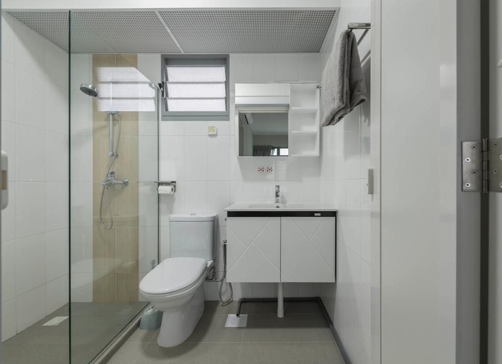 Modern, HDB, Bathroom, Edgedale Plains (Block 682A), Interior Designer, ID Gallery Interior, Vintage, Toilet, Indoors, Interior Design, Room, Towel
