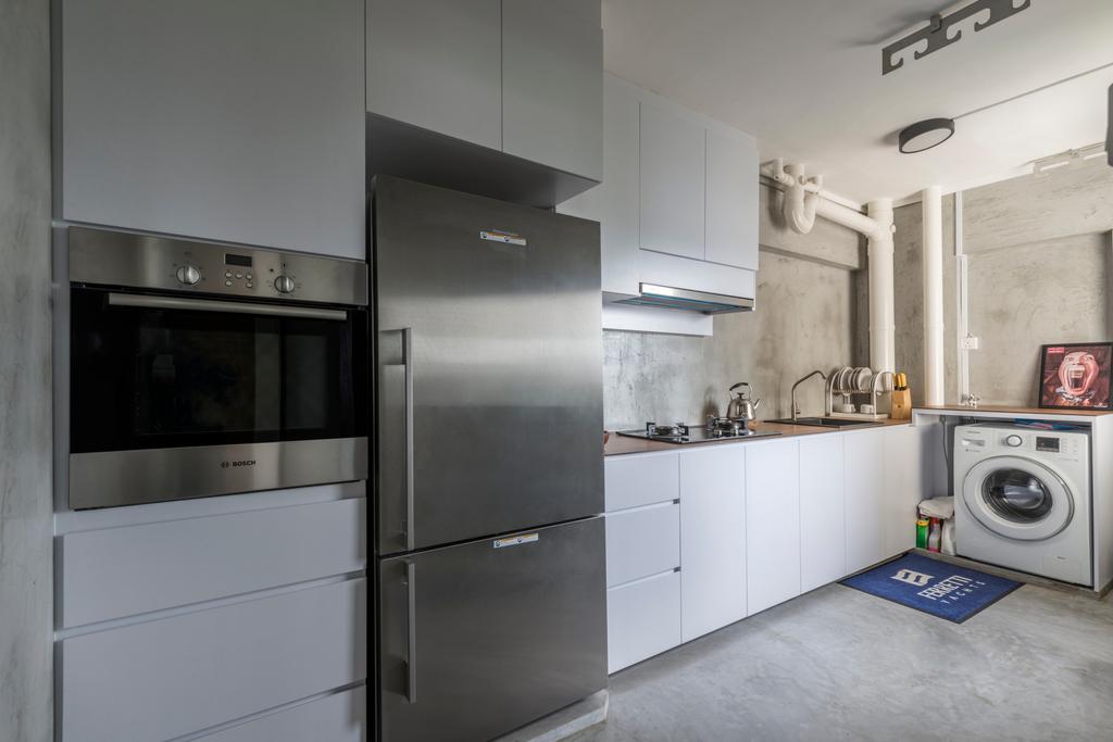 Industrial, HDB, Kitchen, Jalan Tenteram (Block 16), Interior Designer, Butler Interior, Appliance, Electrical Device, Fridge, Refrigerator, Washer