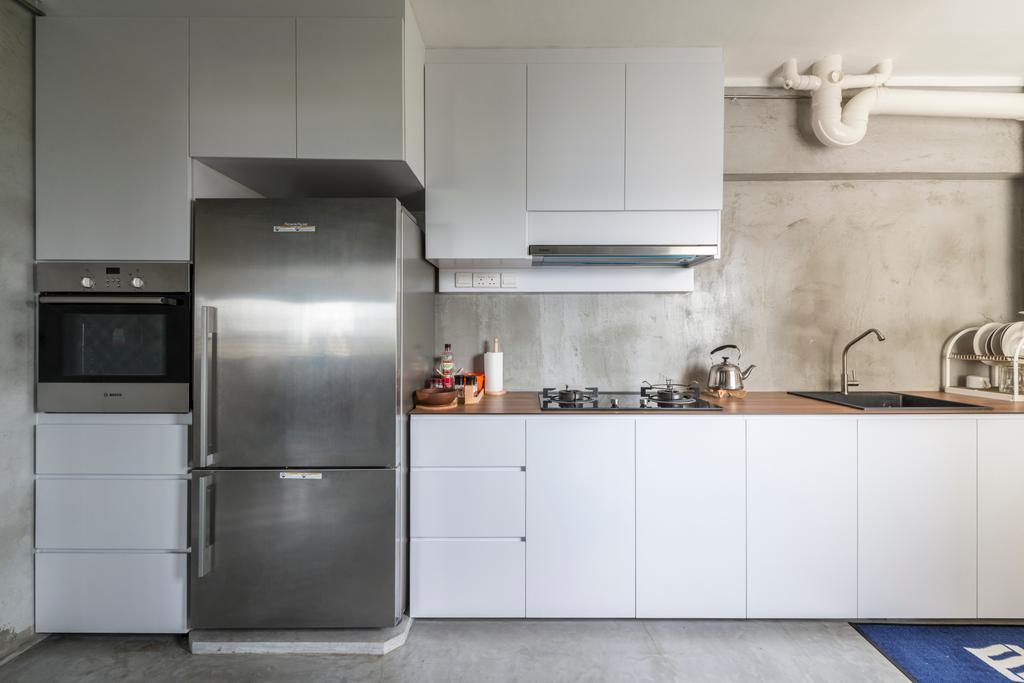 Industrial, HDB, Kitchen, Jalan Tenteram (Block 16), Interior Designer, Butler Interior, Appliance, Electrical Device, Fridge, Refrigerator, Indoors, Interior Design, Room