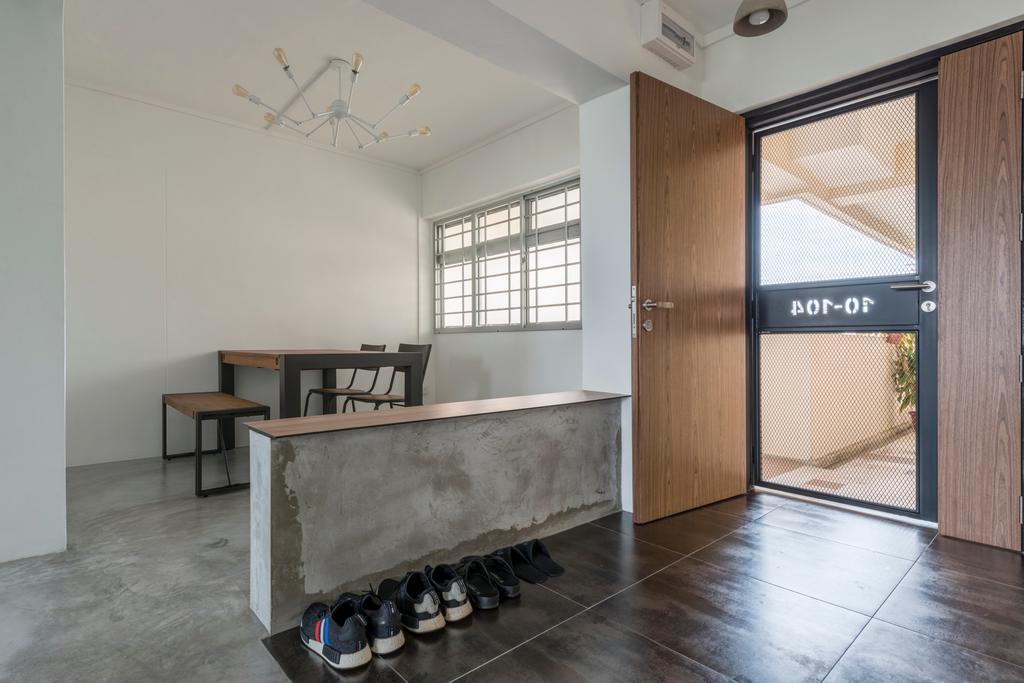 Industrial, HDB, Dining Room, Jalan Tenteram (Block 16), Interior Designer, Butler Interior, Dining Table, Furniture, Table, Elevator