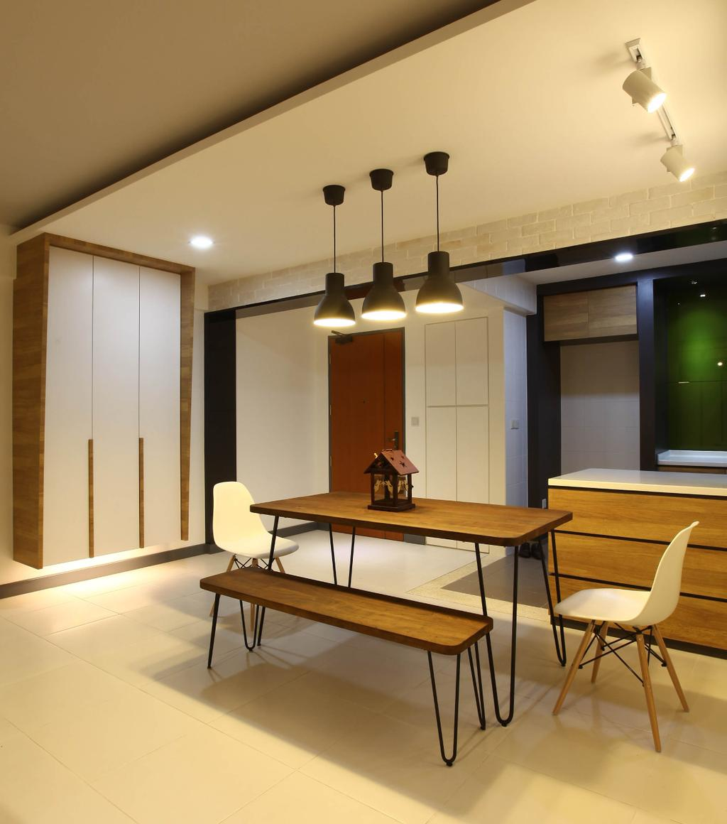 Minimalistic, HDB, Dining Room, Punggol Walk, Interior Designer, KDOT, , Hanging Lights, Recessed Lights, Wooden Bench, Wooden Dining Table, White Chair, White Ceramic Floor, Modern Contemporary Dining Room, Furniture, Dining Table, Table, Chair, Indoors, Interior Design, Room