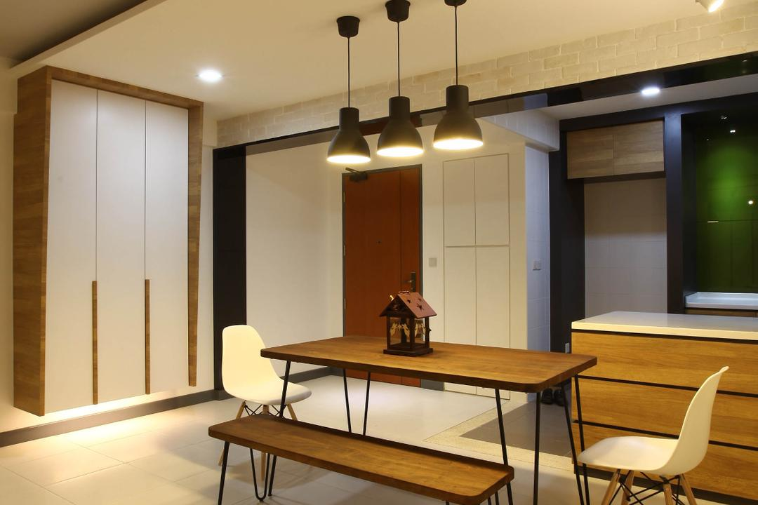 Punggol Walk, KDOT, Minimalistic, Dining Room, HDB, , Hanging Lights, Recessed Lights, Wooden Bench, Wooden Dining Table, White Chair, White Ceramic Floor, Modern Contemporary Dining Room, Furniture, Dining Table, Table, Chair, Indoors, Interior Design, Room
