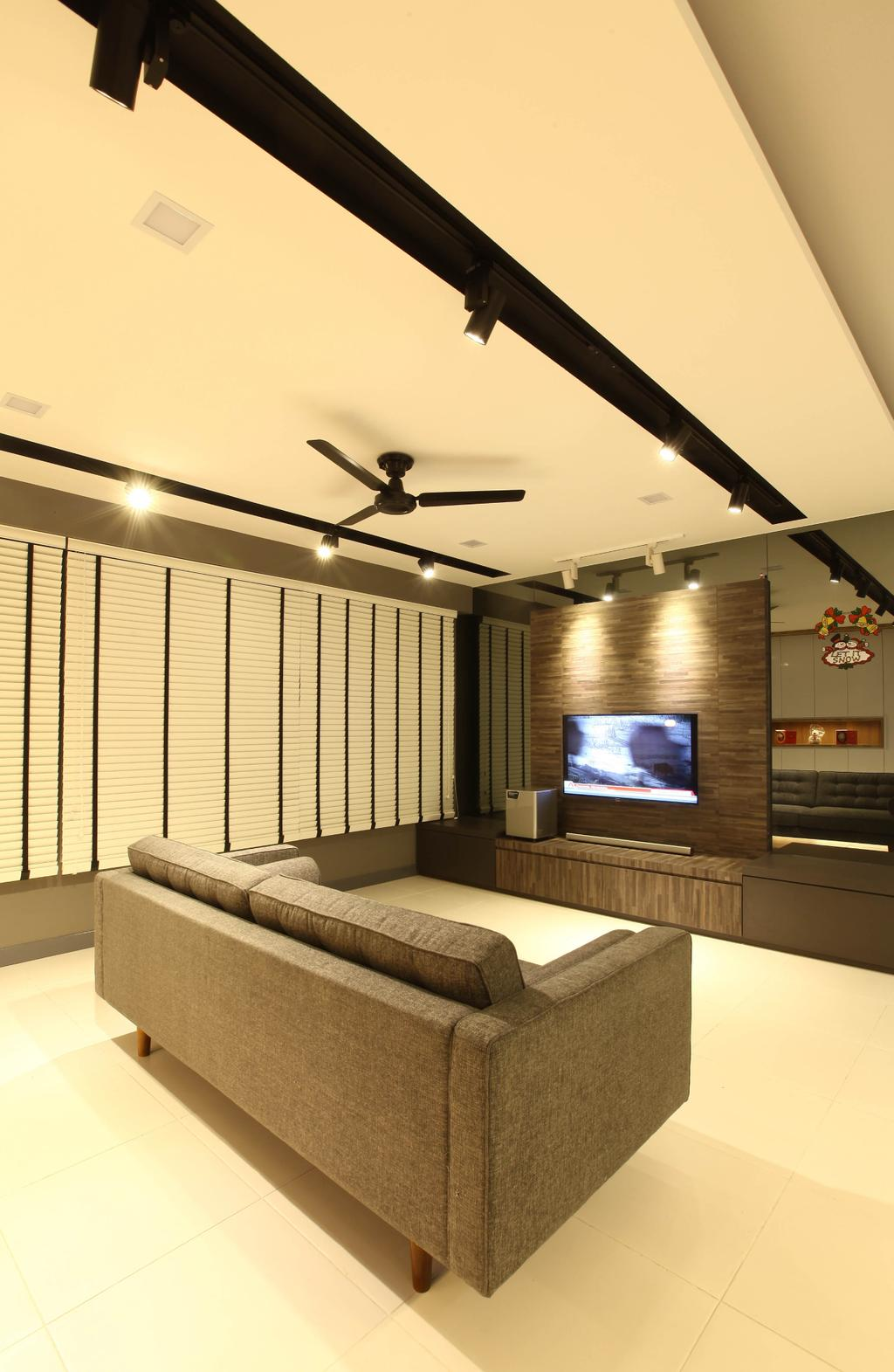 Minimalistic, HDB, Living Room, Punggol Walk, Interior Designer, KDOT, , Track Lights, Ceiling Fan, Wall Mounted Television, Wooden Panel, Roll Down Curtain, Wooden Television Console, Spacious, Modern Contemporary Living Room, Electronics, Entertainment Center, Home Theater