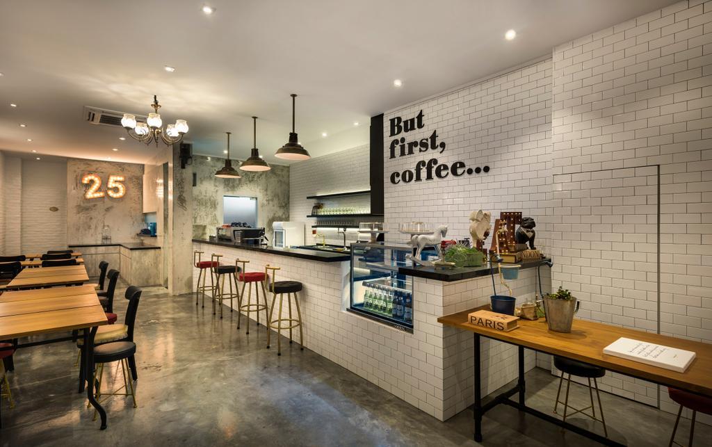 First 25 Cafe, Commercial, Interior Designer, D5 Studio Image, Industrial, Bonsai, Flora, Jar, Plant, Potted Plant, Pottery, Tree, Vase, Bench
