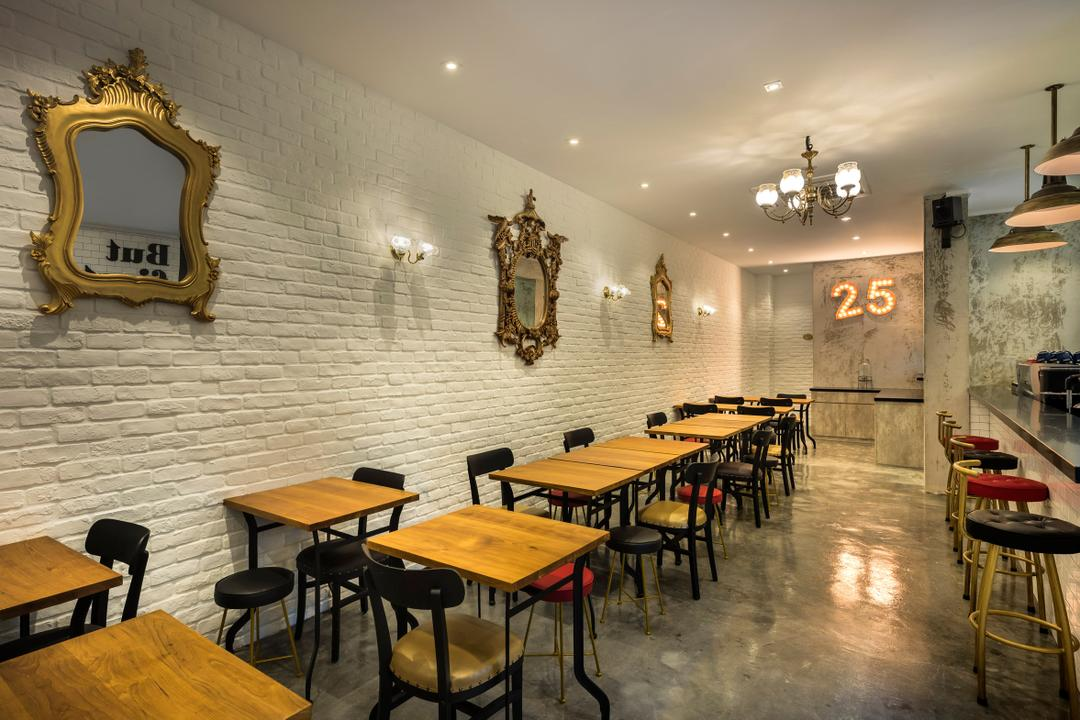 First 25 Cafe, D5 Studio Image, Industrial, Commercial, Chair, Furniture, Antler, Dining Table, Table, Restaurant, Cafe, Bench